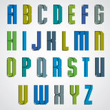 Vector geometric alphabet, bold and condensed font in retro post Royalty Free Stock Photo