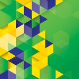 Vector geometric background in Brazil flag concept Stock Photos