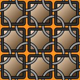Vector geometric background with rings and square grid tiles seamless pattern stock illustration