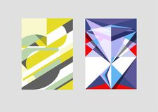 Vector geometric backgrounds with trendy abstract shapes. For cover, poster or brochure. Stock Photos