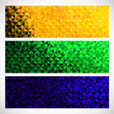 Vector Geometric Banner. Brazil flag Color Background. Abstract. Light Brilliant Bright Sparkle Backdrop Stock Images