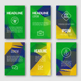 Vector Geometric Banners Set. Brazil Fag Color Background. Abstract Light Bright Sparkle Backdrop for Business, Web Stock Photos