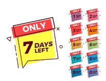 Vector geometric bubble shape tags on different colors with number of days left Royalty Free Stock Photos