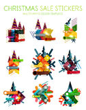Vector Geometric Christmas Sale Stickers Stock Photo