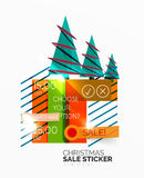 Vector Geometric Christmas Sale Stickers. Shiny paper style elements with holiday concepts - Snowflake and New Year Tree stock illustration