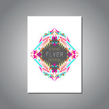 Vector geometric colorful brochure template for business and invitation. Ethnic, tribal, aztec style royalty free illustration