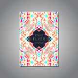 Vector geometric colorful brochure template for business and invitation. Ethnic, tribal, aztec style Royalty Free Stock Photos