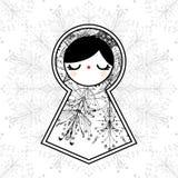 Vector Geometric Cute Babushka Matryoshka Doll Background Stock Photos