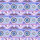 Vector geometric ethnic pattern with circles, triangles. Stripes, lines and mandalas. Tribal background in soft pink blue colors fro spring summer fashion royalty free illustration
