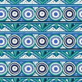 Vector geometric ethnic pattern with circles, triangles. Stripes, lines and mandalas. Tribal background in nautical blue colors fro spring summer fashion. Bold vector illustration