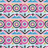Vector geometric ethnic pattern with circles, triangles. Stripes, lines and mandalas. Tribal background in bright pink colors fro spring summer fashion. Bold vector illustration