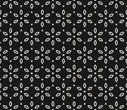 Vector geometric floral pattern. Black and white seamless texture Stock Image