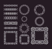 Vector geometric lines, border frames set Royalty Free Stock Images