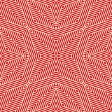 Vector geometric lines pattern. Abstract seamless ornament in red and tan colors. royalty free illustration