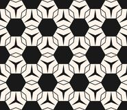 Vector geometric ornament texture with hexagons, triangles, thin lines. Vector geometric texture. Modern seamless pattern with simple shapes, hexagons Stock Images