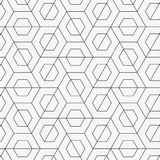 Vector geometric pattern. Modern stylish texture with monochrome trellis. Repeating geometric triangular line and hexagon line. Royalty Free Stock Images