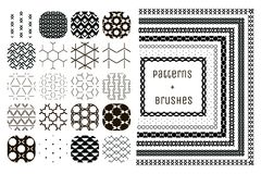 20 Vector Geometric Patterns and 7 Pattern Brushes Royalty Free Stock Images