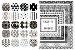 20 Vector Geometric Patterns and 11 Pattern Brushes Stock Images
