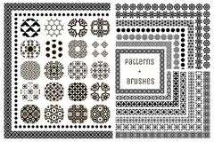 20 Vector Geometric Patterns and 15 Pattern Brushes. Collection of 20 Black Geometric Seamless Patterns and 15 Flexible, Color, Size and Shape adjustable Pattern Stock Image