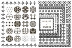 20 Vector Geometric Patterns and 15 Pattern Brushes. Collection of 20 Black Geometric Seamless Patterns and 15 Flexible, Color, Size and Shape adjustable Pattern Royalty Free Stock Image