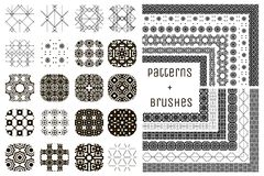 20 Vector Geometric Patterns and 12 Pattern Brushes. Collection of 20 Black Geometric Seamless Patterns and 12 Flexible, Color, Size and Shape adjustable Pattern Stock Image