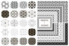 20 Vector Geometric Patterns and 12 Pattern Brushes. Collection of 20 Black Geometric Seamless Patterns and 12 Flexible, Color, Size and Shape adjustable Pattern Royalty Free Stock Image