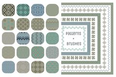 20 Vector Geometric Patterns and 7 Pattern Brushes. Collection of 20 Colorful Geometric Seamless Patterns and 7 Flexible, Color, Size and Shape adjustable Stock Photo
