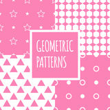 Vector geometric pink seamless patterns set. Baby Royalty Free Stock Photography