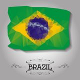 Vector geometric polygonal Brazil flag. Royalty Free Stock Image