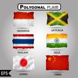 Vector geometric polygonal world flag collection. Royalty Free Stock Photography