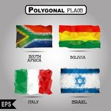 Vector geometric polygonal world flag collection. For your design stock illustration