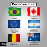 Vector geometric polygonal world flag collection. Royalty Free Stock Images