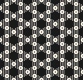 Vector geometric seamless pattern with big and small hexagons. Vector monochrome texture, simple geometric seamless pattern with different hexagons. Black stock illustration