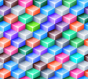 Vector geometric seamless pattern with bright. Colored cubes. Tiled mosaic background with 3D glass boxes. Web design concept Stock Photography
