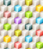 Vector geometric seamless pattern with bright. Colored cubes. Tiled mosaic background with 3D glass shapes. Web design concept Vector Illustration