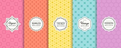 Vector geometric seamless pattern collection. MInimalist background swatches. Minimalist vector geometric seamless pattern collection. Set of simple colorful stock illustration