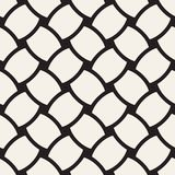 Vector geometric seamless pattern with curved shapes grid. Abstract monochrome rounded lattice texture. Modern textile background. Vector geometric seamless stock illustration