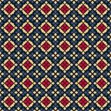 Vector geometric seamless pattern. Folk ornament. Black, red, blue and yellow. Vector geometric seamless pattern. Traditional folk ornament. Texture with small stock illustration