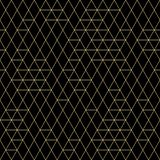 Vector Geometric Seamless Pattern. Golden Triangles on Dark Background. Minimalist Abstract Modern Texture