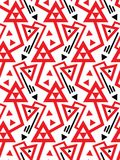 Vector geometric seamless pattern with lines and doubled red triangles in black and white. vector illustration
