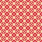 Vector geometric seamless pattern. Luxury red and gold ornament with grid, mesh stock illustration