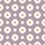 Vector geometric seamless pattern in retro pastel colors, pale purple and beige. Abstract texture with perforated circles and dots. Simple repeat background vector illustration