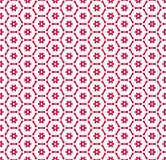Vector red and white geometric seamless pattern with small flowers, grid, net. Vector geometric seamless pattern with small flower silhouettes, snowflakes, stars vector illustration