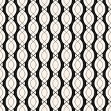 Vector geometric seamless pattern with smooth wavy shapes, chain. S, ropes, vertical bands. Elegant abstract monochrome background texture, repeat tiles. Design Royalty Free Stock Images