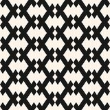Vector geometric seamless pattern in traditional ethnic style. Tribal folk motif. Black and white ornament with rhombuses, diagonal grid, net. Abstract vector illustration