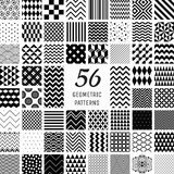 56 Vector Geometric Seamless Patterns. Set of 56 Vector Black Geometric Seamless Patterns with Transparent Background. Pattern Swatches stock illustration