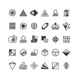 Vector geometric shapes and symbols. Geometrical logos vector set. Geometric shape logo, hipster abstract creative trendy icons illustration Royalty Free Stock Photo