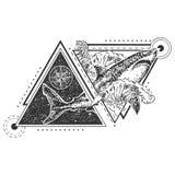 Vector geometric shark tattoo or t-shirt print design. Vector geometric animal tattoo or t-shirt print design. Shark combined with compass rose, ocean waves