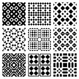 Vector Geometric Tiles. Vector illustration of nine square patterned tiles, isolated on white background royalty free illustration