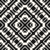 Vector geometric traditional folk ornament. Black and white seamless pattern. Ornamental background with small squares, crosses, snowflakes, flower shapes royalty free illustration